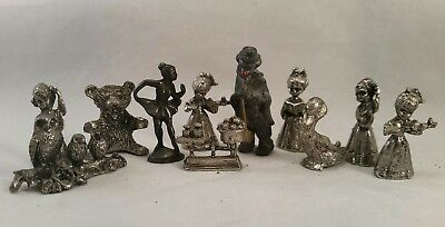 """Pewter Figurines, Lot of 11, Monopoly pieces, 1""""-2"""" Tall Figures Vintage Antique"""