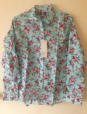 Western Shirt Long Sleeve Womens Rodeo Cowgirl Blue Teal Size M 12-14 Floral