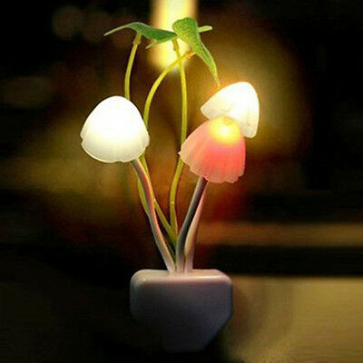 Lovely Color Rainbow Mushroom LED Night Light plug-in Wall Lamp Bathroom USA