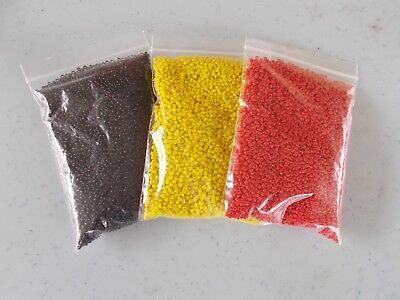 3 x 100g 2mm 12/0 Glass Seed Beads OPAQUE Red Black Yellow Colors 300g D18