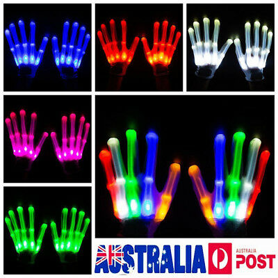 Pair Rainbow Flow LED Light Black Gloves Rave Party Glow Games Night fun