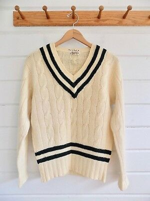 Vintage Paine of Godalming Tennis Cricket Sweater Cabled V-Neck Ivory Green - Sz