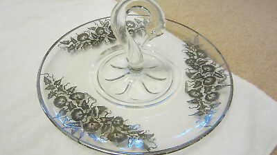 Sterling silver and Glass Plate with swan center