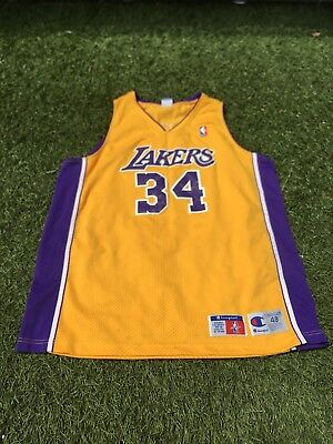 b5d5913b67c Shaquille SHAQ O'Neal LOS ANGELES LAKERS Vintage CHAMPION Replica Jersey  Size 48
