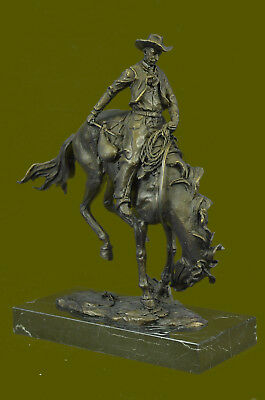 100% Bronze Statue Lg Remington Bronze cowboy w/Horse Sculpture BRONCO BUSTER