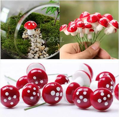 10X Miniature Mushroom Fairy Garden Ornament Dollhouse Pot Decor DIY Craft HC