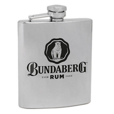 120543 BUNDABERG RUM BUNDY BEAR 6oz STAINLESS STEEL HIP FLASK ALCOHOL DRINKING