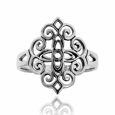 Vintage Beauty  Floral Filigree Lace Sterling Silver Ring-8