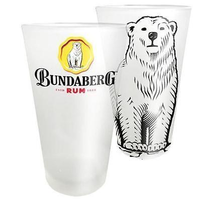 125189 Bundaberg Bundy Rum Bear Set 2 Frosted Conical Drinking Glasses Glass