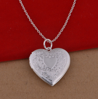 """Wholesale 925 Sterling Silver Plated Heart Locket Photo Pendant Necklace 18"""""""
