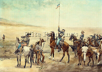 Remington Frederic Signaling Main Command Artist Painting Oil Canvas Repro Art