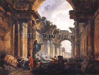 Robert Hubert Imaginary View Grande Galerie Louvre Ruins Artist Painting Canvas