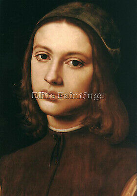 Perugino Pietro Portrait Young Man Detail 1495 Artist Painting Oil Canvas Repro
