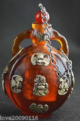 China Old Collectibles Handwork beeswax Armored Miao Silver Buddha Snuff Bottle