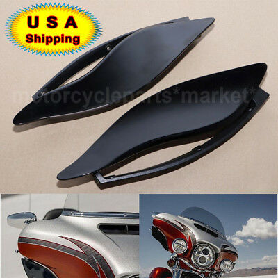 Smoke Upper Outer Fairing Side Wings Air Deflectors For Harley Touring 2014-2017