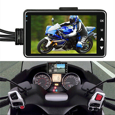 """Motorbike DVR 3"""" LCD+120°Dual Waterproof Camera Support Video Sync Recording"""