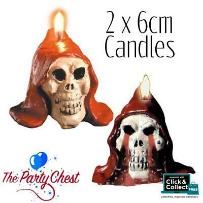 2 BLEEDING 6CM SKULL CANDLES Spooky Halloween Trick or Treat Party Decorations