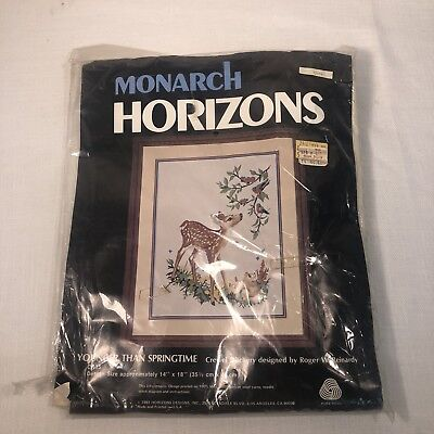 "Monarch Horizons Crewel Stitchery Kit Fawn Younger Than Springtime 14"" x 18"""