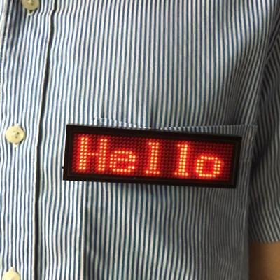 LED Programmable Scrolling Name Message Badge Tag Digital Displaying Red English