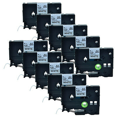 10Pack 6mm Black on White TZ 211 TZe211 0.24'' Label Tape For Brother P-touch