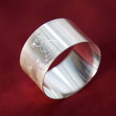 Vintage Sterling Silver Plated Napkin Ring - Cat