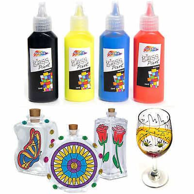 Glass Paint Set Painting Kit Black Red blue Yellow Opaque Stained Paints