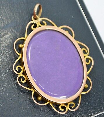 Antique Victorian 9CT ROSE GOLD Double Sided Glazed Scrolled Edge LARGE LOCKET