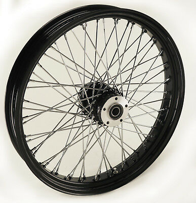 "Black Ultima 60 Spoke Billet 18 x 3.5"" Single Front Wheel for Harley and Customs"