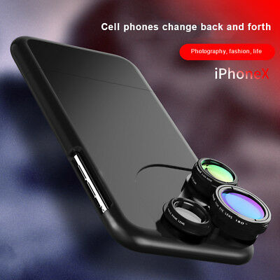 Fish Eye Wide Angle Macro 4 In1 Camera Lens Phone Case For iPhone XS 8 7 6 Plus