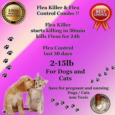 Flea Killer and Control Combo 6+6 instant Killer for small Dogs / Cats 2-15lb