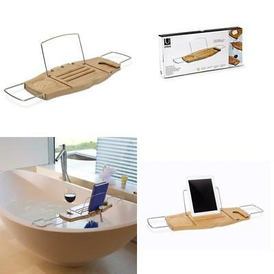 UMBRA AQUALA BAMBOO and Chrome Bathtub Caddy - $32.99 | PicClick