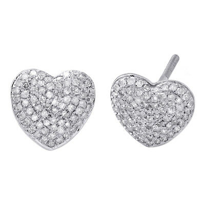 10K White Gold Diamond Heart Shape Dome Studs Ladies Puff Pave Earrings 1/2 CT.
