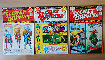 Secret Origins 1, 2, 7 1973 - 1974 Lot of 3 VF/NM DC Comics