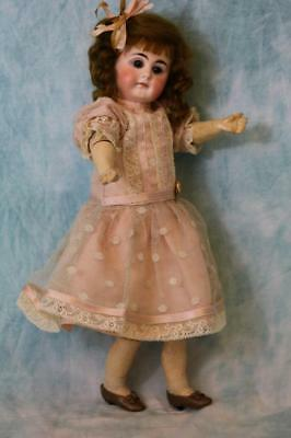 """Antique 13"""" Solid dome German Bisque Belton-type Closed Mouth Doll Dimple Chin"""