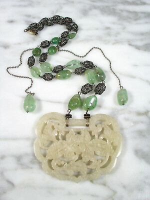 Antique Chinese Carved Mutton Fat Jade Green Tourmaline Filigree Silver Necklace