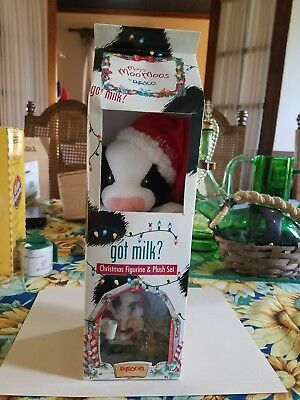 Enesco Mary's Moo Moos 2000 Got Milk? Christmas Figurine & Plush Set #728764