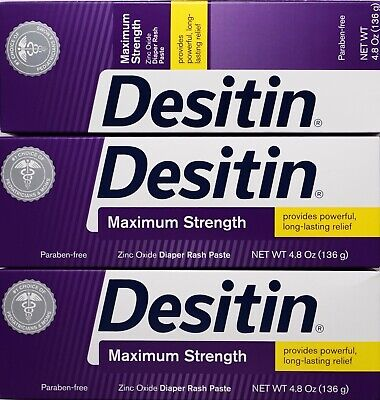 Desitin Maximum Strength Zinc Oxide Diaper Rash Paste, 4.8 Ounce Tubes