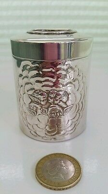 Antique Walker & Hall Silver Vanity Jar 1905 ( Reynolds Angels)