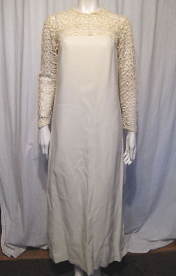Vintage 60s 70s Linen? w/ Lace Wedding Dress w/ Detachable Train