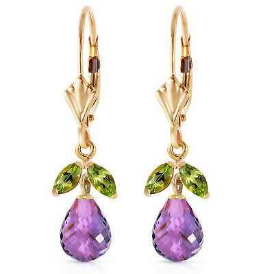 3.4 Carat 14K Solid Gold Virginia Amethyst Peridot Earrings