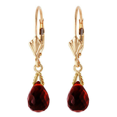 4.5 Carat 14K Solid Gold Leverback Earrings Briolette Garnet