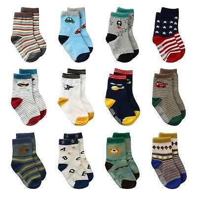 LAISOR 12 Pairs Assorted Non-Skid Ankle Cotton Socks with Grip For Kids T... New