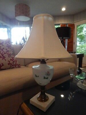 Antique Lamp Marble Base hand painted white glass Vintage BEAUTIFUL works great