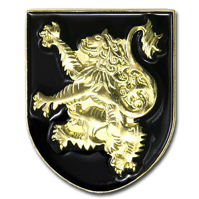Scotland Lion Rampant Scottish Coat Of Arms Shield Gold Lapel Pin Gift Box Pouch