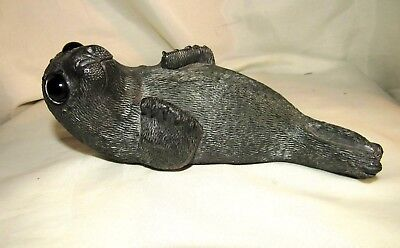 Seal Stone Carving Sculpture Hand Carved Original signed Mint Cond Glass Eyes