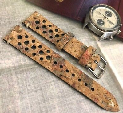 18 19 20 21 22 24mm Vintage Italian Real Cork Racing Watch Strap H/M Colored Tan