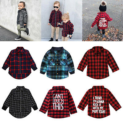 Boys Girls Plaid Shirt Back Letters Casual Long Sleeve Tops Shirts Outwear lot
