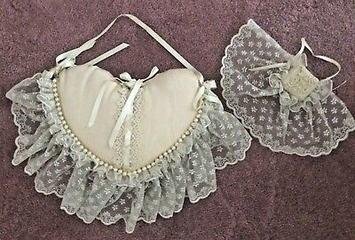 Antique French Embroidered Normandy Boudoir Moire Satin Lace Pillow + Music Box