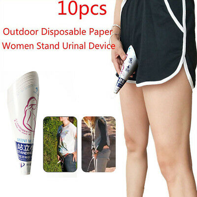 10Pcs Disposable Female Women Paper Urinal Stand Up Pee Urination Outdoor Tool