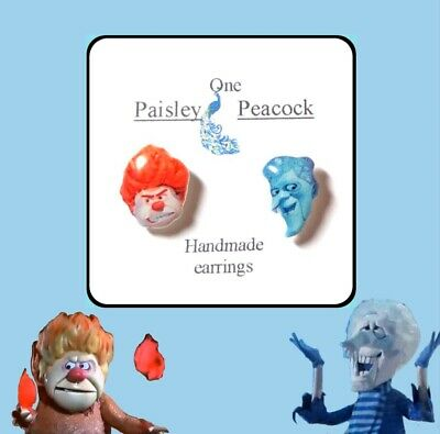 Heat and Snow Miser Earrings The Year Without Santa Christmas Movie 1970's